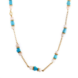 14K Yellow Gold Turquoise and White Coral Necklace