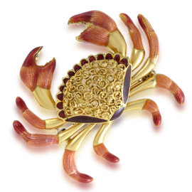 18K Yellow Gold Crab Womens Brooch