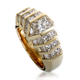 18K Yellow Gold Invisible Set Diamond Band Ring Size 5.25