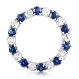 Platinum Diamond & Sapphire Hoop Brooch