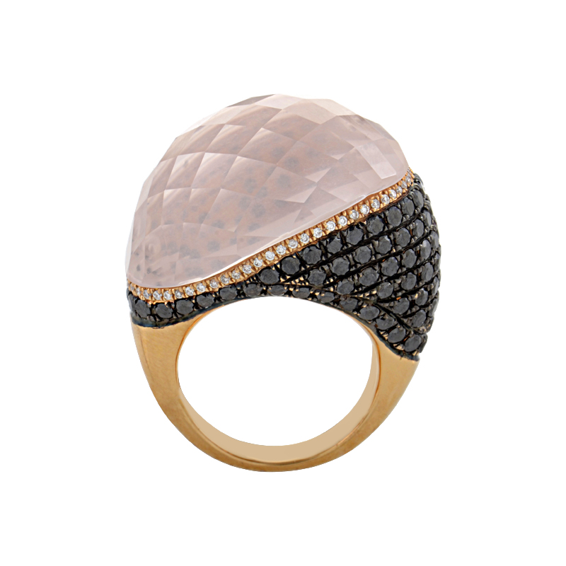 "Image of ""French Collection 18K Rose Gold Pink Quartz Multi-Diamond Ring"""