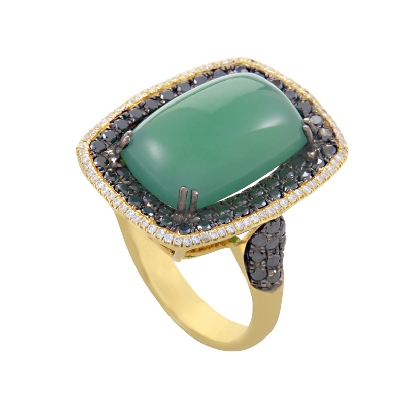 "Image of ""French Collection 18K Yellow Gold Green Agate & Multi-Diamond Ring"""