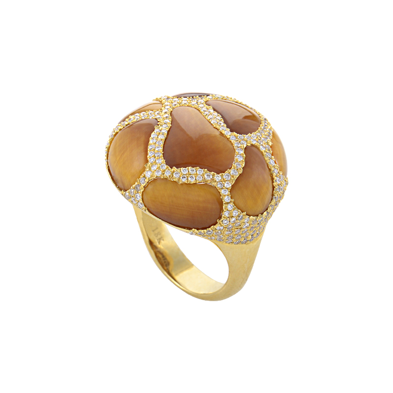 "Image of ""18K Yellow Gold Tiger's Eye Diamond Ring"""