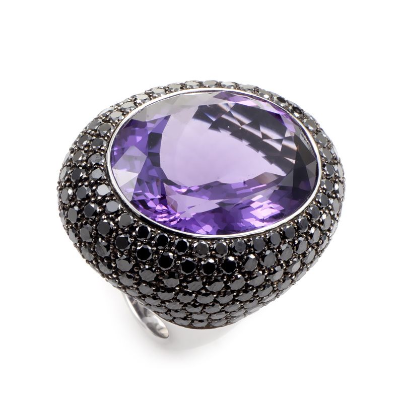 "Image of ""18K White Gold Amethyst & Diamond Cocktail Ring"""