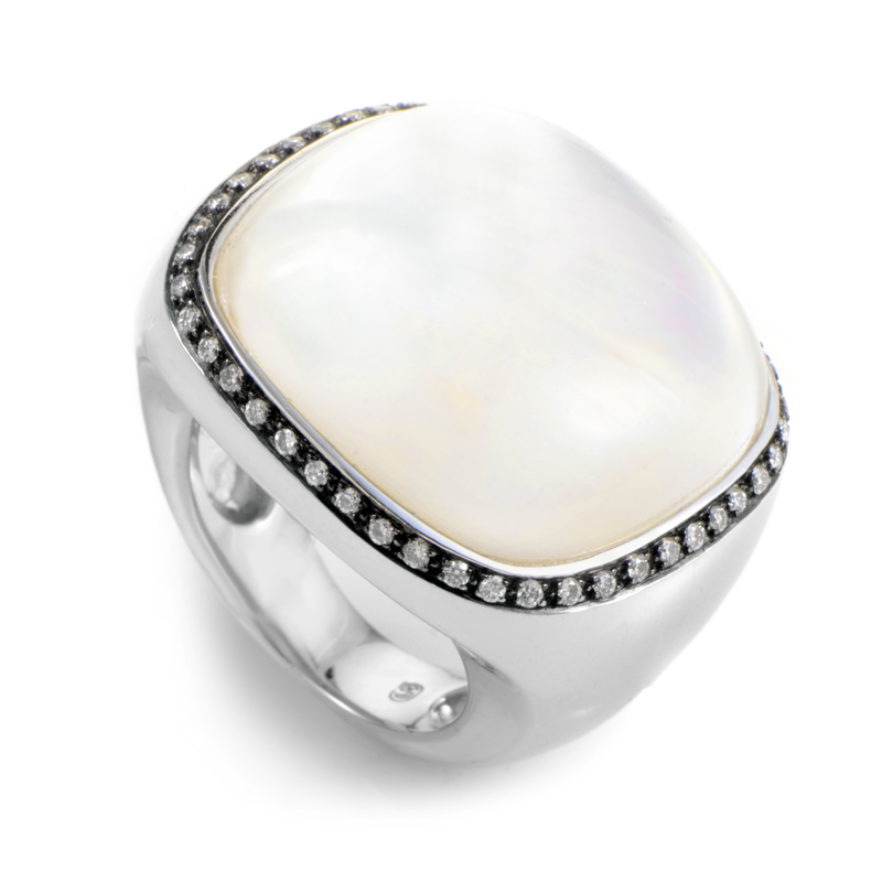 "Image of ""18K White Gold Moonstone & Diamond Ring"""