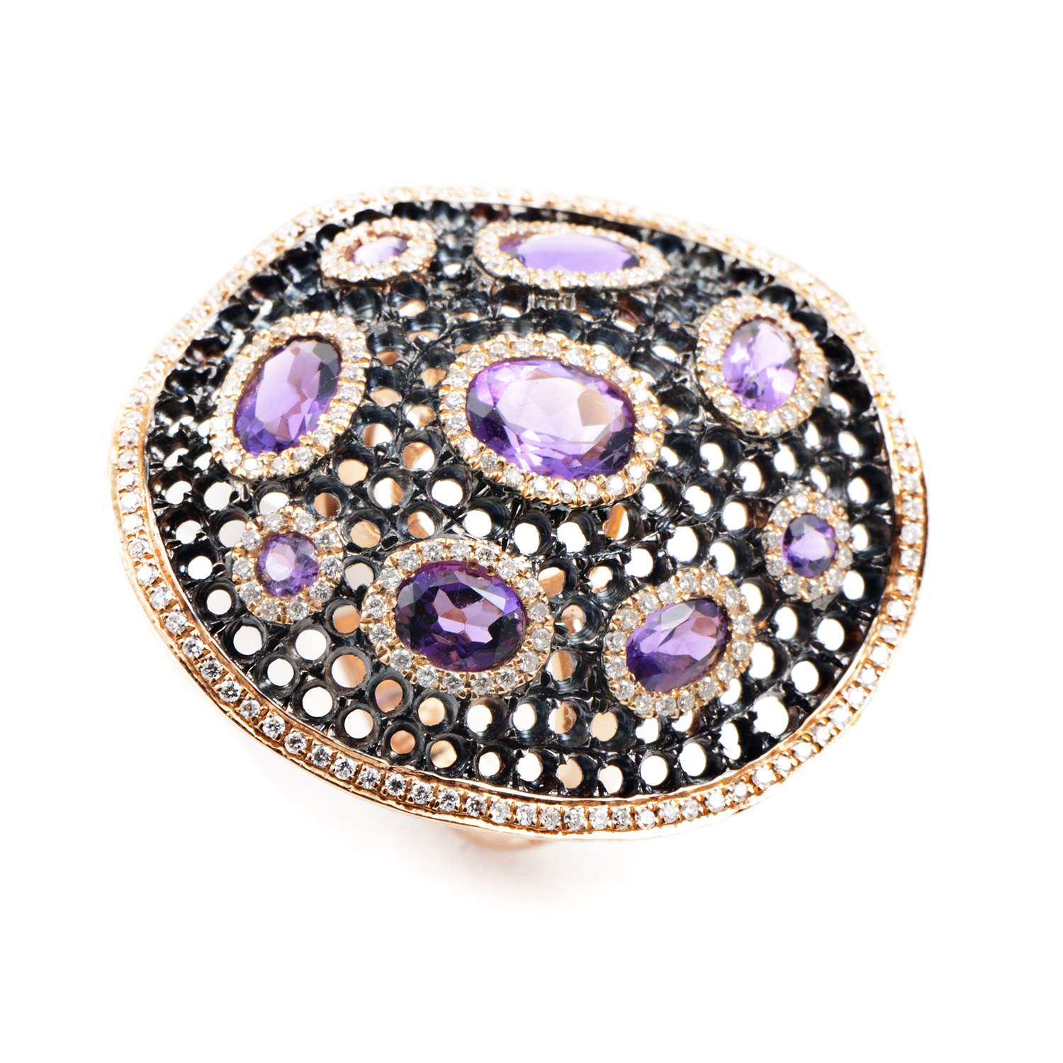 "Image of ""French Collection 18K Rose Gold Diamond & Amethyst Ring"""