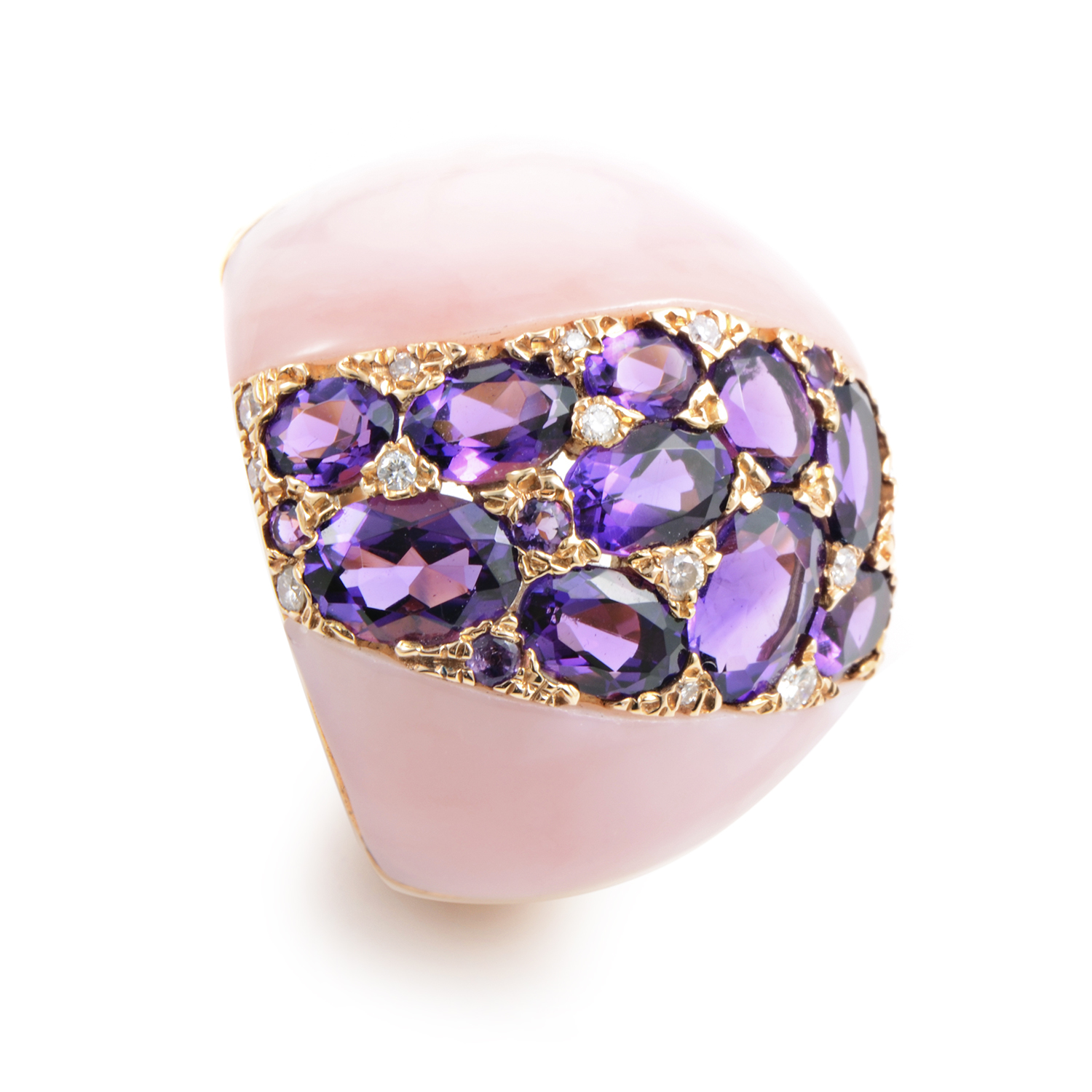 "Image of ""French Collectiion18K Rose Gold Pink Quartz & Diamond Ring"""