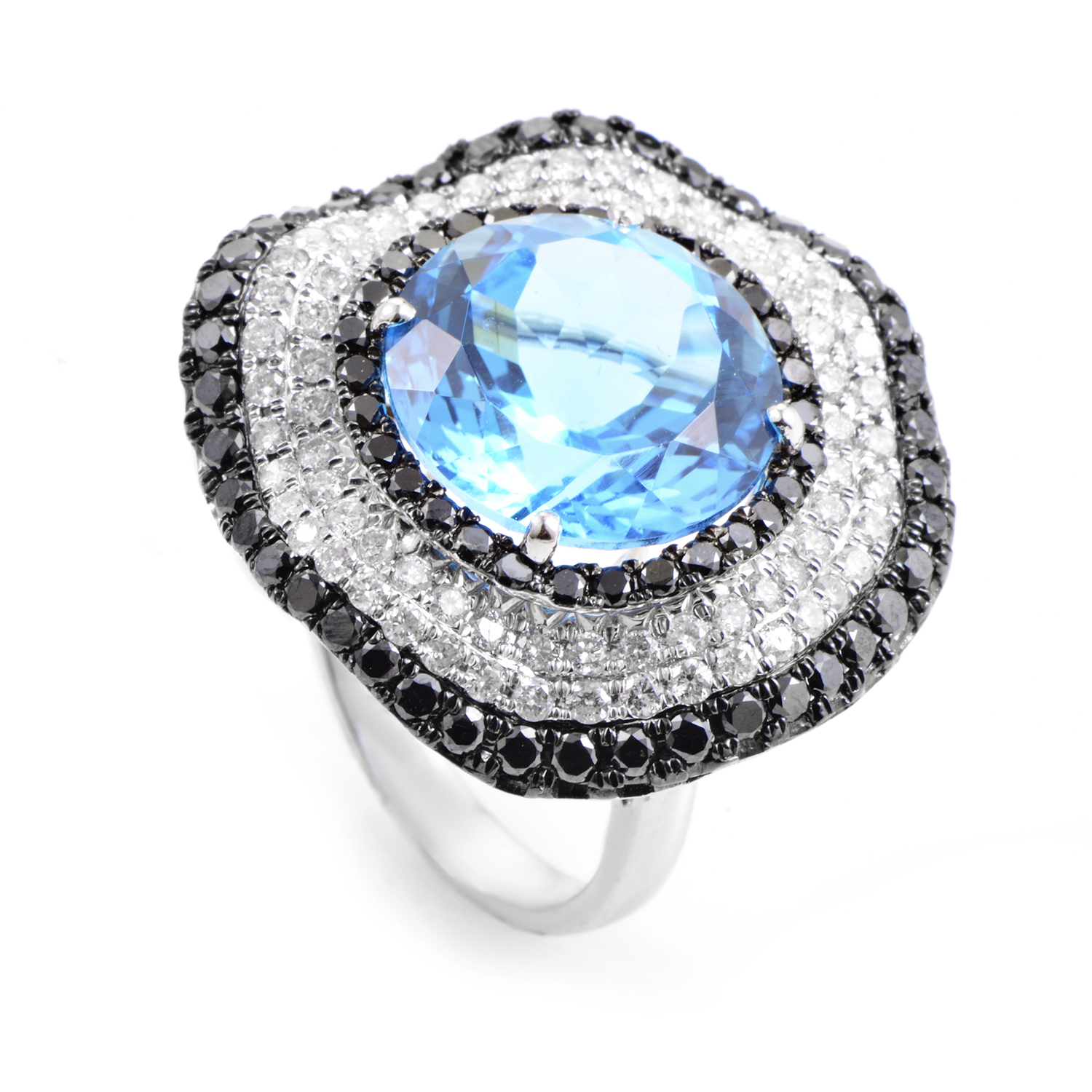 """Image of """"French Collection 18K White Gold Diamond & Topaz Ring"""""""