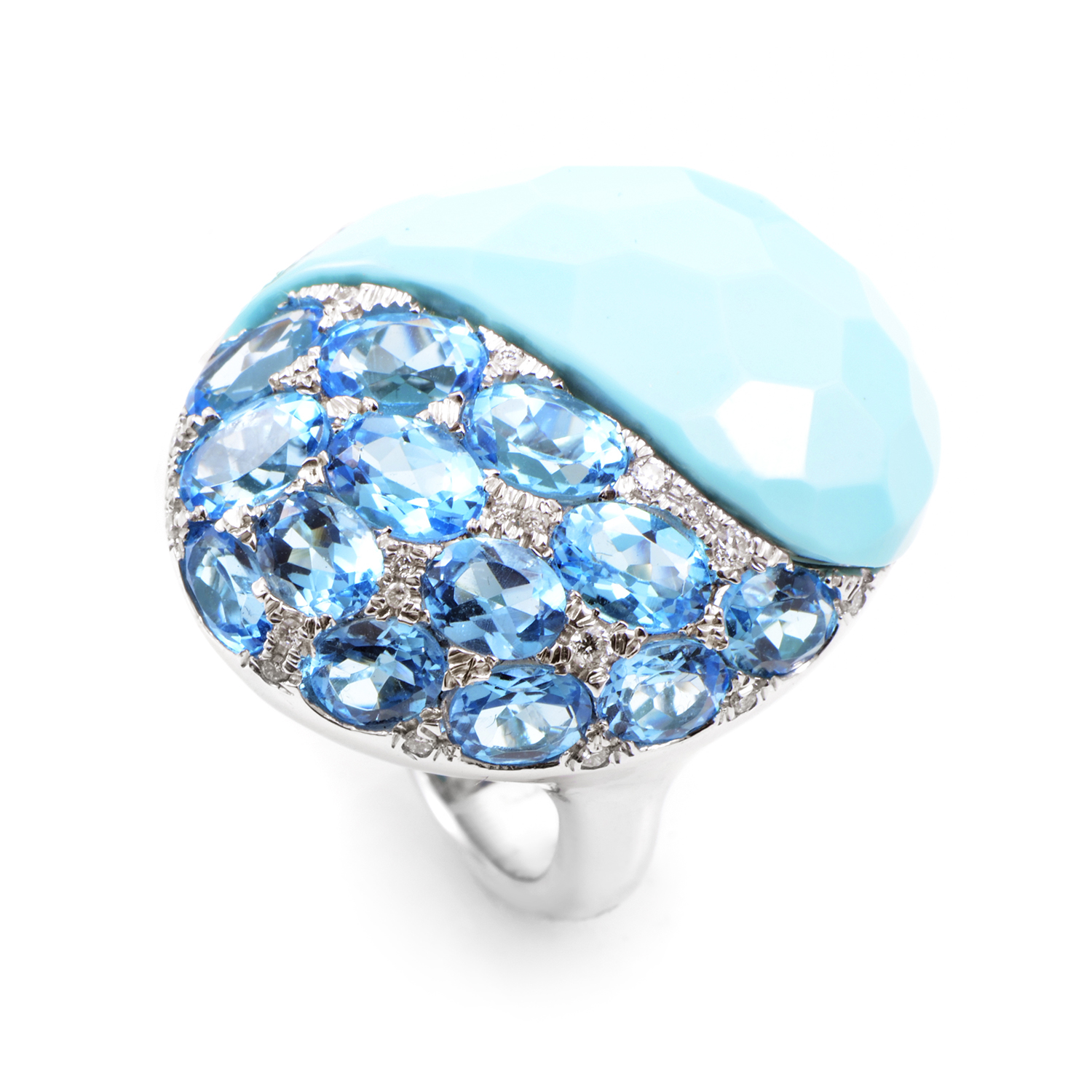 "Image of ""French Collection 18K White Gold Blue Gemstone Ring"""