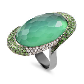 French Collection 18K White Gold Diamond & Green Gemstone Cocktail Ring