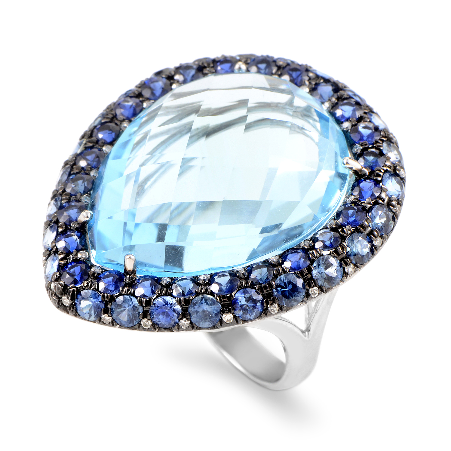 "Image of ""French Collection 18K White Gold Diamond & Blue Gemstone Ring"""
