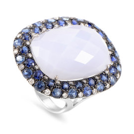 French Collection 18K White Gold Multi-Gemstone Cocktail Ring