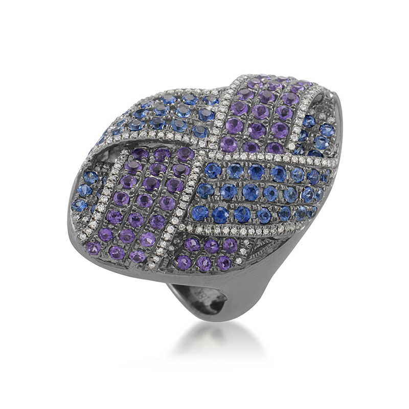 "Image of ""French Collection 18K White Gold Amethyst & Sapphire Pave Ring"""