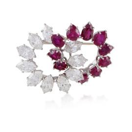 Platinum 8.50ct Diamond & 7.00ct Ruby Brooch