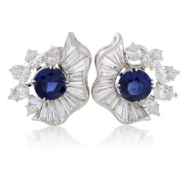 Platinum Diamond and Blue Sapphire Clip-on Earrings