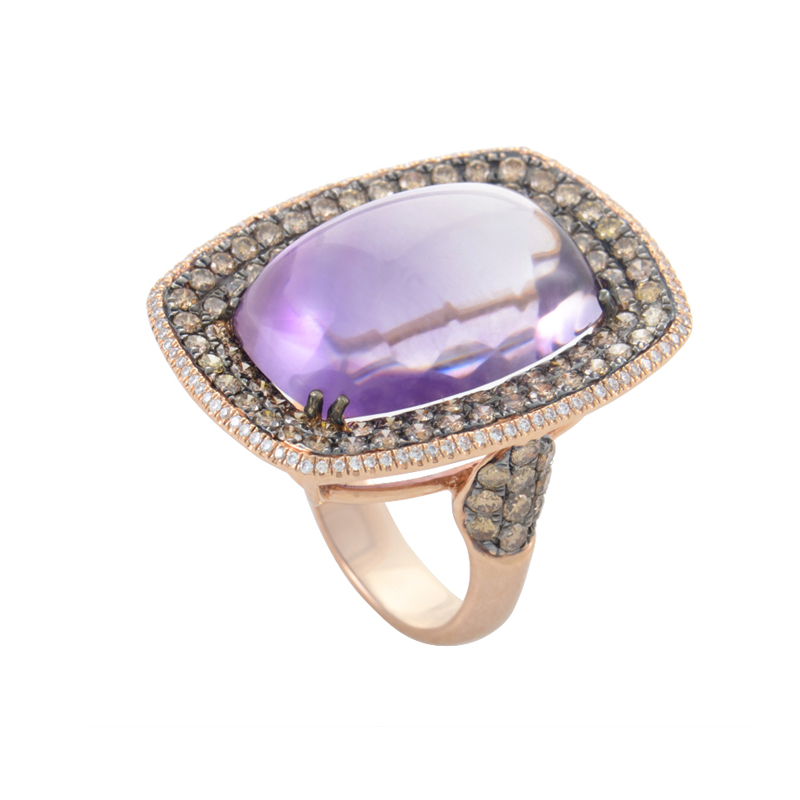 "Image of ""18K Rose Gold Amethyst & Diamond Ring"""