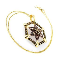 14K Yellow & Rose Gold 1.23ct Diamond Flower Pendant Necklace