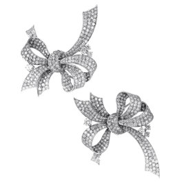 18K White Gold Full Diamond Bow Brooch Set