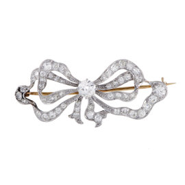 Platinum & 14K Yellow Gold Diamond Bow Brooch
