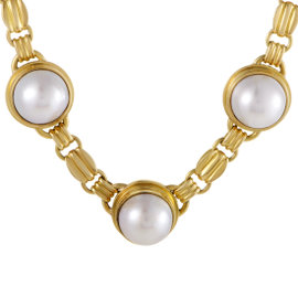 18K Yellow Gold Mabe Pearl Collar Necklace
