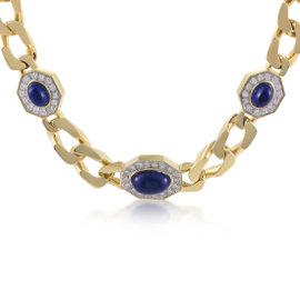 18K Yellow and White Gold Diamond and Lapis Lazuli Choker Necklace