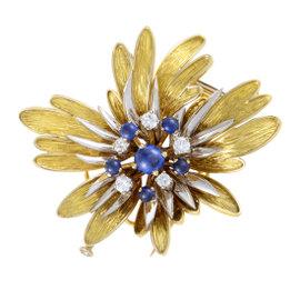 18K Yellow and White Gold Diamond and Sapphire Floral Brooch