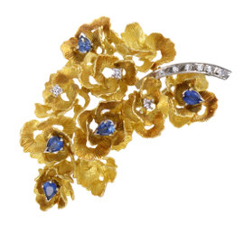 18K Yellow and White Gold Diamond and Sapphire Flower Brooch