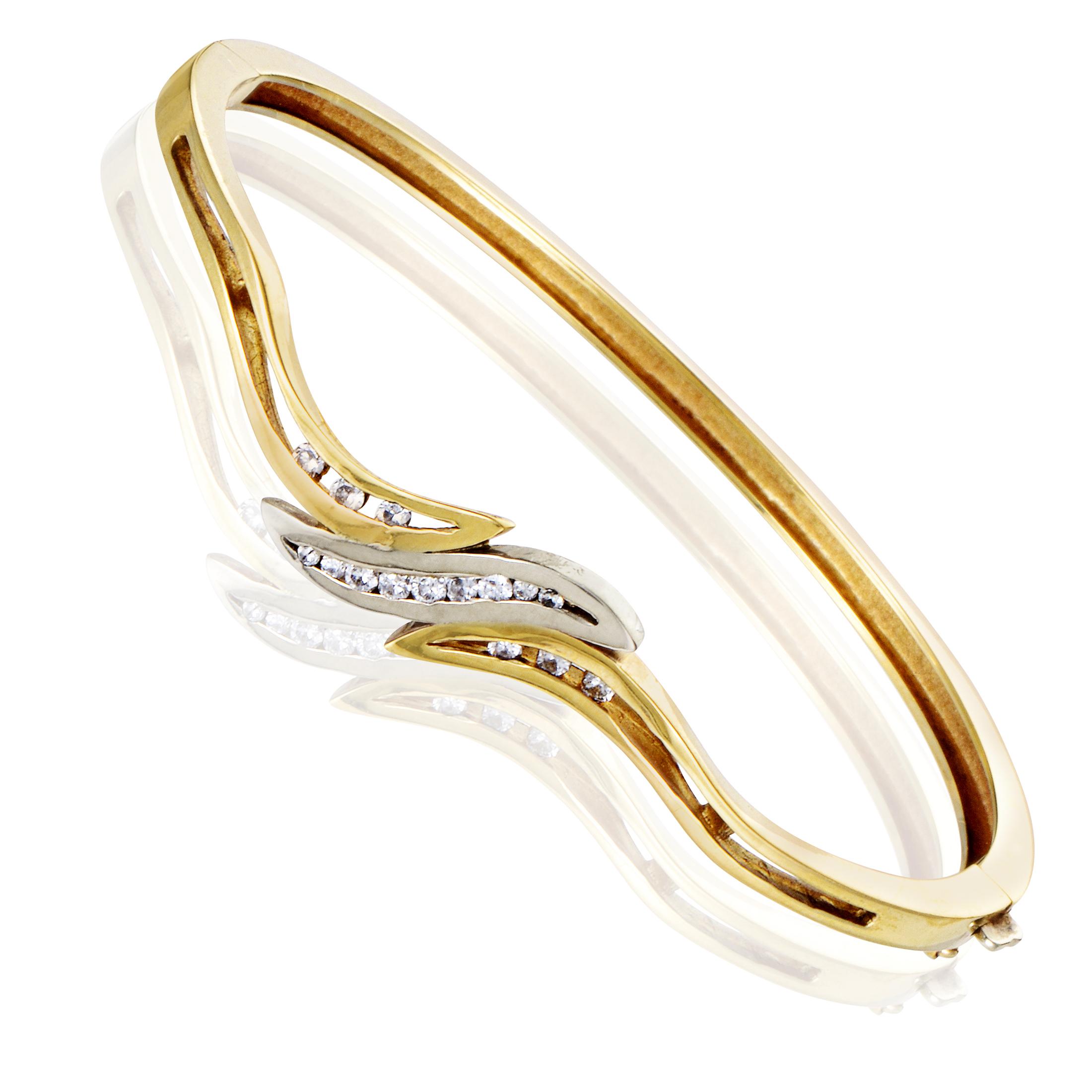 """""""""""14K Multi-Tone Gold Diamond Bangle Bracelet"""""""""""" 914634"""