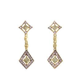 18K Yellow Gold White & Yellow Diamond Drop Earrings