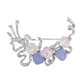 18K White Gold Diamond Quartz and Chalcedony Rose Brooch