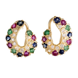 18K Yellow Gold 0.15ct. Diamond Emerald Ruby and Sapphire Pave Earrings