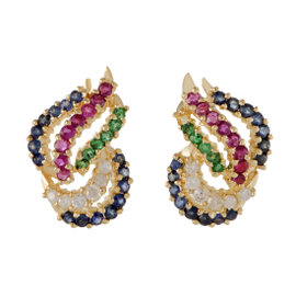 18K Yellow Gold 0.33ct. Diamond Ruby Emerald and Sapphire Stud Earrings