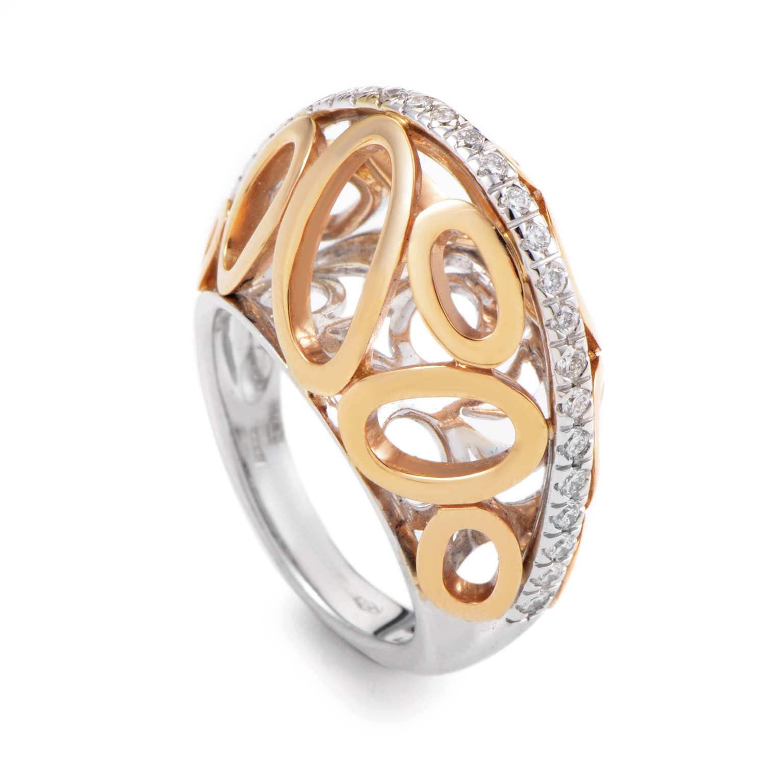 "Image of ""Oro Trend 18K Yellow & White Gold Diamond Ovals Band Ring"""