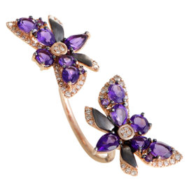 French Collection 14K Rose Gold Diamond and Amethyst Between the Finger Ring size 7.75
