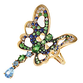 French Collection Yellow Gold Diamond and Multiple Gemstone Butterfly Ring