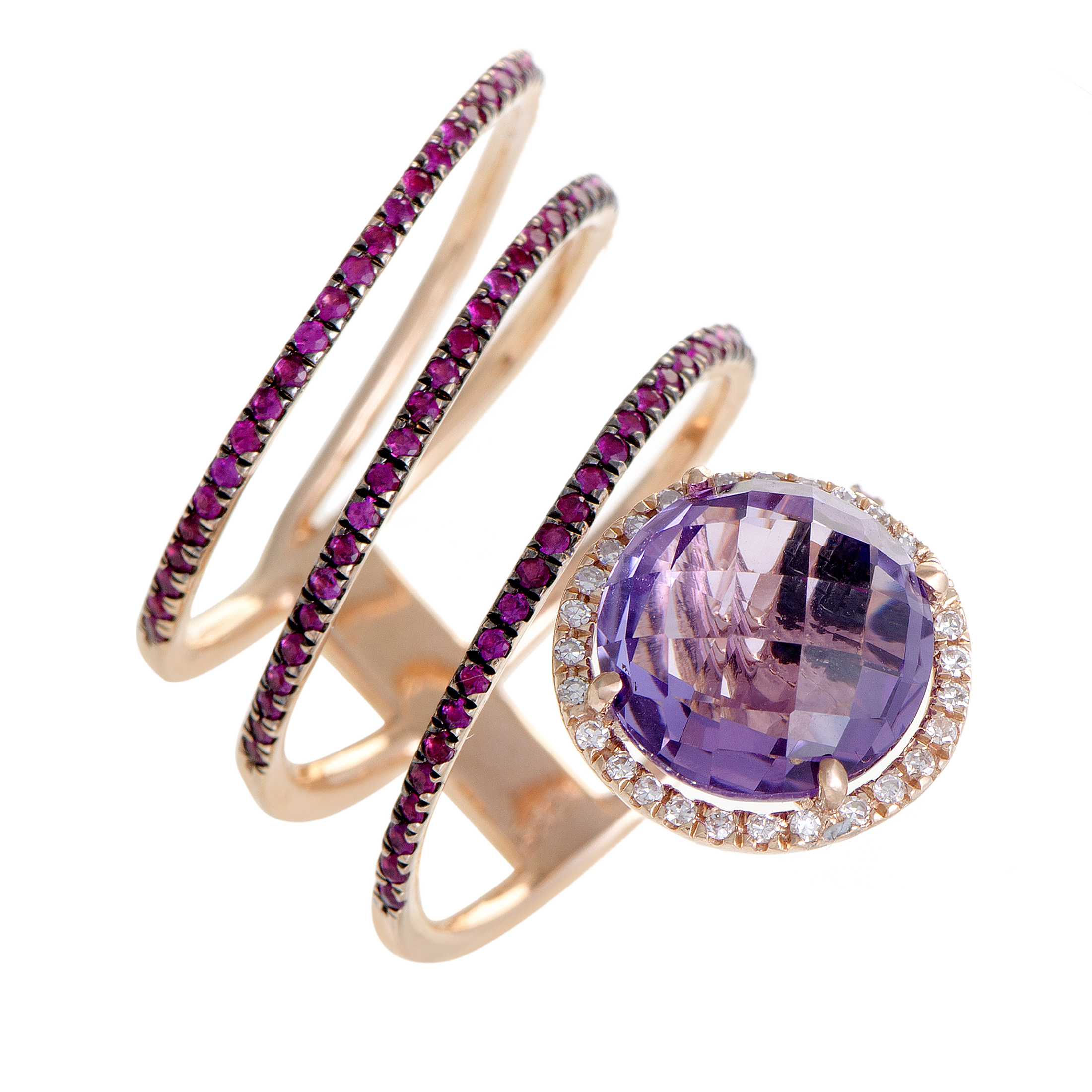 "Image of ""French Collection 14K Rose Gold Diamond Amethyst and Ruby Band Ring"""