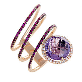 French Collection 14K Rose Gold Diamond Amethyst and Ruby Band Ring Size 7.5