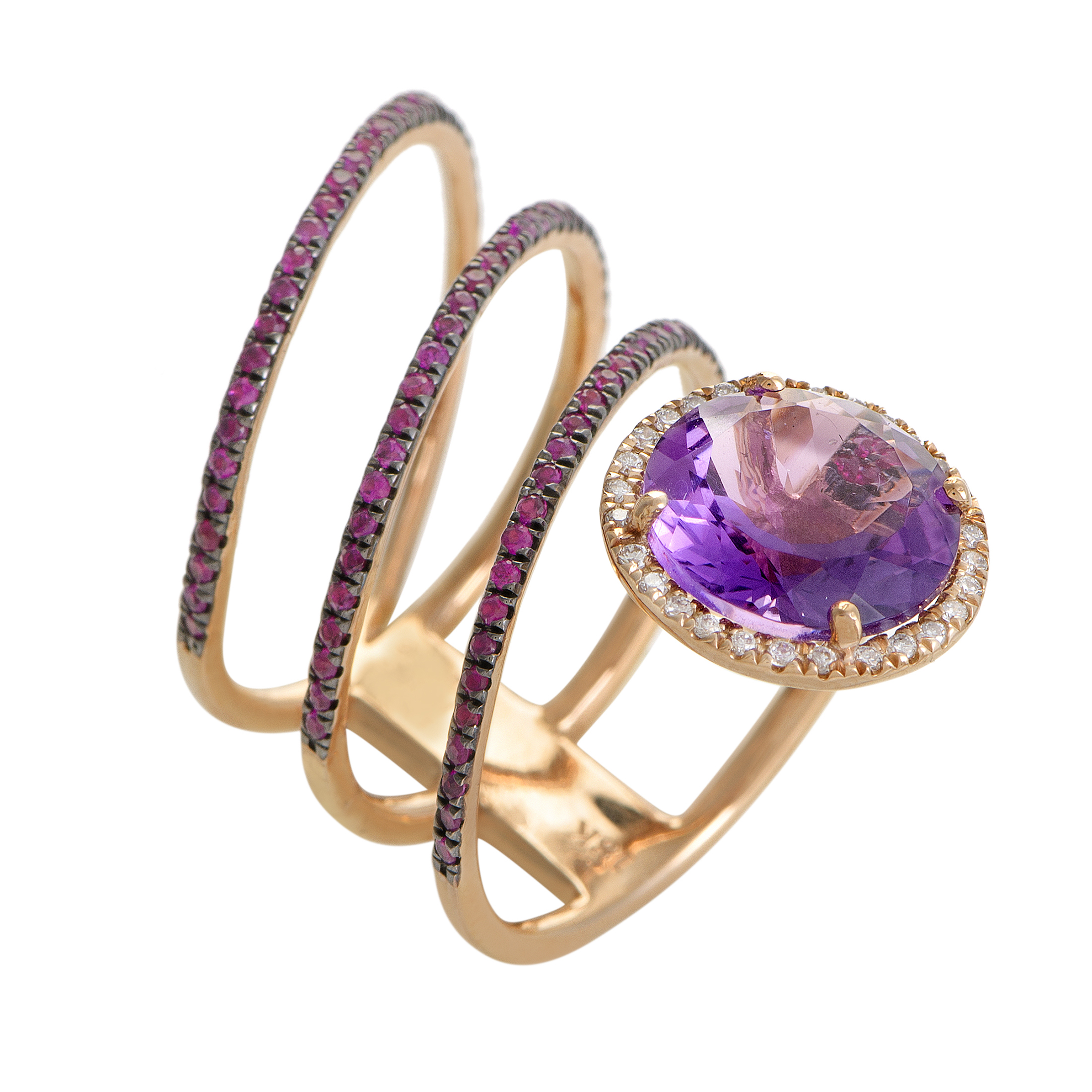 "Image of ""French Collection 18K Rose Gold Diamond Amethyst & Ruby Band Ring Size"""