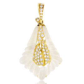 18K Yellow Gold Diamond & Crystal Pendant