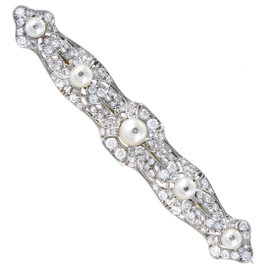 Platinum Diamond Pave and Pearl Pin