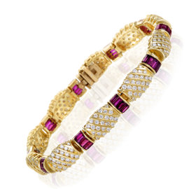 18K Yellow Gold Diamond Pave and Ruby Bracelet