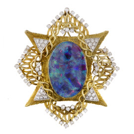 18K Yellow & White Gold Diamond and Opal Brooch