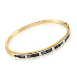 18K Yellow Gold Diamond and Sapphire Bangle Bracelet