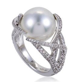 Mikimoto 18K White Gold with Diamond & Pearl Ring Size 7.5