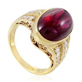Mikimoto 18K Yellow Gold Diamond & Tourmaline Cabochon Ring