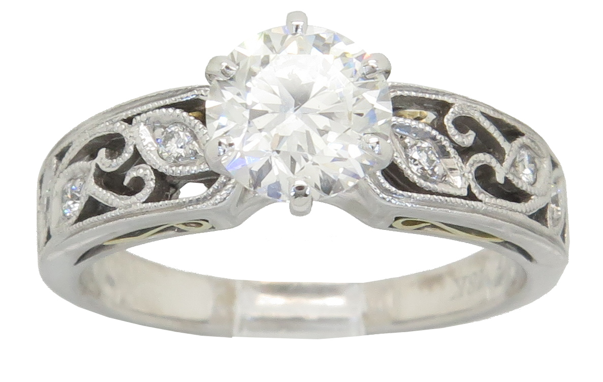 "Image of ""Simon G. 18K Two Tone Designer GIA Certified 1.07Ctw Diamond Ring"""