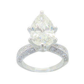 18K White Gold Coast Designer 3.4CTW Pear Shape Diamond Ring