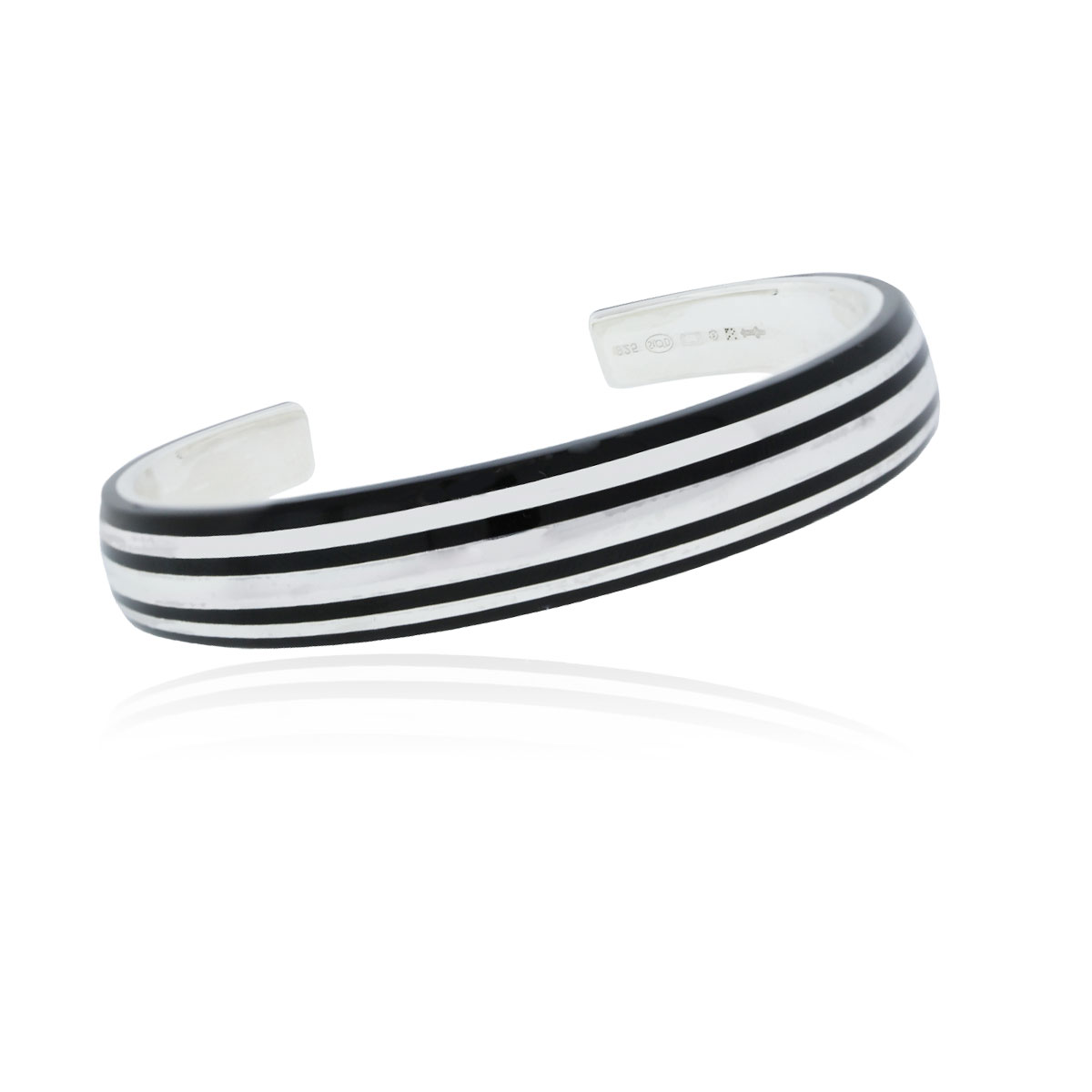 "Image of ""Mont Blanc 925 Sterling Silver Black Striped Bangle Bracelet"""