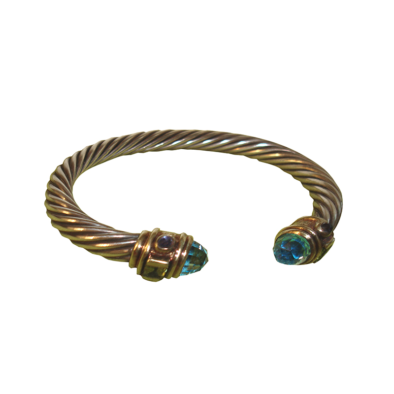 "Image of ""Classic David Yurman Blue Topaz and Peridot Cable Bracelet"""