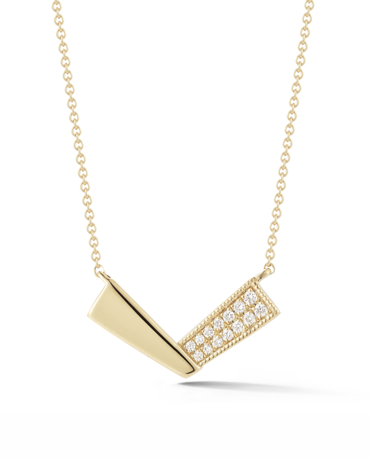 "Image of ""Metal and Diamond V Necklace"""